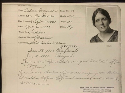 Margaret V  Osborn Personnel card