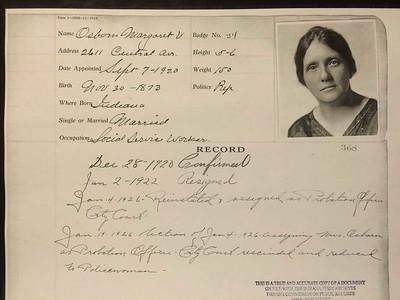 Margaret V  Osborn Personnel card