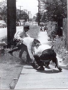 L-R: Victor Osborne, Edward Clouse and Patrick Gaughn aide Dora Ward. Miley Avenue, rear of home.
