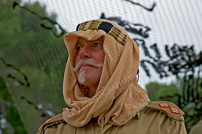 HR-BE 00008 A British Royal Army servicemember wearing desert attire reenactor, by Peter J Mancus