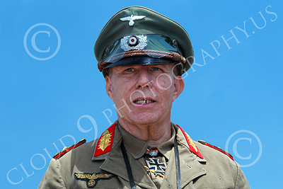HR-WWIIGAS 00032 A convincing re-enactment of WWII German Army Field Marshall Erwin Rommel known as The Desert Fox, historical re-enactor picture by Peter J Mancus