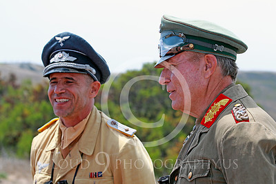 HR-WWIIGAS 00004 A convincing re-enactment of WWII German Army Field Marshall Erwin Rommel known as The Desert Fox talking with a fellow German officer, historical re-enactor picture by Peter J Mancus