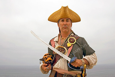 HR-PIR 00016 A historical reenactor pirate with skull and sword, by Peter J Mancus
