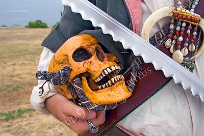 HR-PIR 00003 A historical reenactor pirate holds a skull, by Peter J Mancus