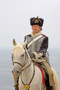 HR-PCAV 00001 A Prussian cavalry officer historical reenactor sits on his horse, by Peter J Mancus
