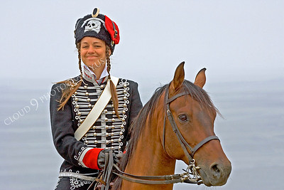 HR-PCAV 00006 A female Prussian cavalry historical reenactor sits on her horse, by Peter J Mancus