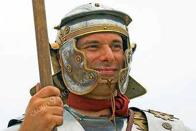 HR-RL 00001 A Roman Legion historical reenactor at attention, by Peter J Mancus
