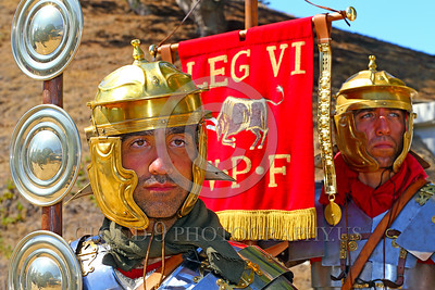 """HR-RL 00410 Portrait of two very """"Roman"""", stern looking, Roman Legion warriors at attention, Roman Legion historical re-enactor picture by Peter J  Mancus"""