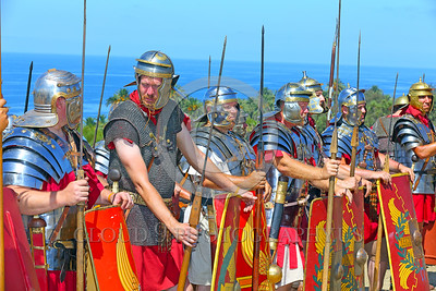 HR-RL 00398 A group of at ease Roman Legion warriors, Roman Legion historical re-enactor by Peter J  Mancus