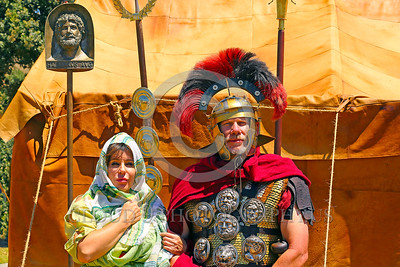 HR-RL 00400 Portrait of a senior Roman Legion commander with a fancy helmet and medals with his wife, Roman Legion historical re-enactor by Peter J  Mancus