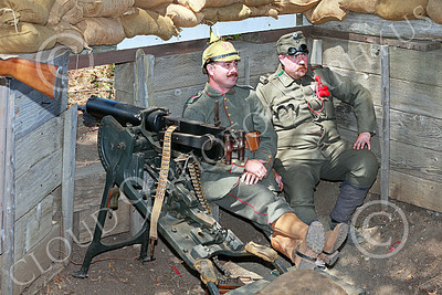 HR-WWIGAS 00012 A WWI German Army two man machinge gun crew takes a break before battle, historical re-enactor picture by Peter J Mancus