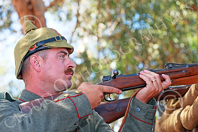 HR-WWIGAS 00014 A WWI German Army soldier decides who to kill, historical re-enactor picture by Peter J Mancus