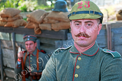 HR-WWIGAS 00004 Two WWI German Army soldiers in their encampment, historical re-enactor picture by Peter J Mancus