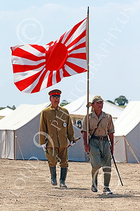 HR-WWIIIJS 00021 A World War II Imperial Japanese Army officer and soldier with the Japanese rising sun flag, historical re-enactor picture by Peter J Mancus