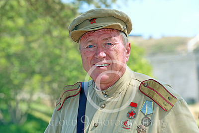HR-WWIISAS 00030 Portrait of an older male World War II Soviet Army soldier with medals, historical re-enactor picture by Peter J Mancus