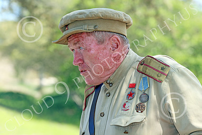 HR-WWIISAS 00020 Portrait of an older male World War II Soviet Army soldier wearing medals, historical re-enactor picture by Peter J Mancus