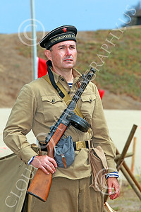 HR-WWIISAS 00011 A World War II Soviet Army soldier with a sub-machine gun stands proud, historical re-enactor picture by Peter J Mancus