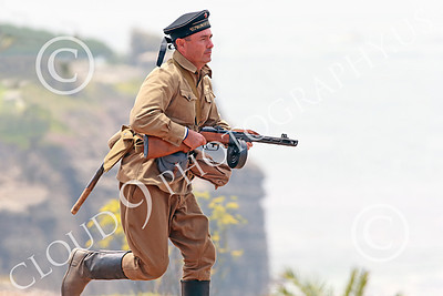 HR-WWIISAS 00004 A running male World War II Soviet Army soldier with a sub-machine gun, historical re-enactor picture by Peter J Mancus