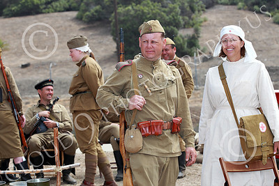 HR-WWIISAS 00012 A group of World War II Soviet Army soldiers with a nurse, historical re-enactor picture by Peter J Mancus