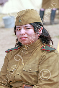 HR-WWIISAS 00005 An exotic looking female World War II Soviet Army soldier, historical re-enactor picture by Peter J Mancus