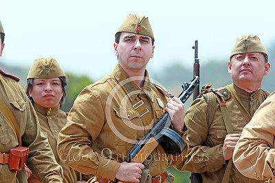"""HR-WWIISAS 00018 Marching World War II Soviet Army soldiers look """"eyes right"""" at their commanding officer, historical re-enactor picture by Peter J Mancus"""