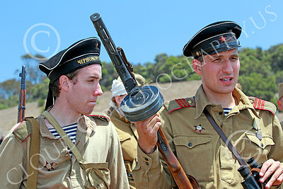 HR-WWIISAS 00026 Portrait of two male World War II Soviet Army soldiers, historical re-enactor picture by Peter J Mancus