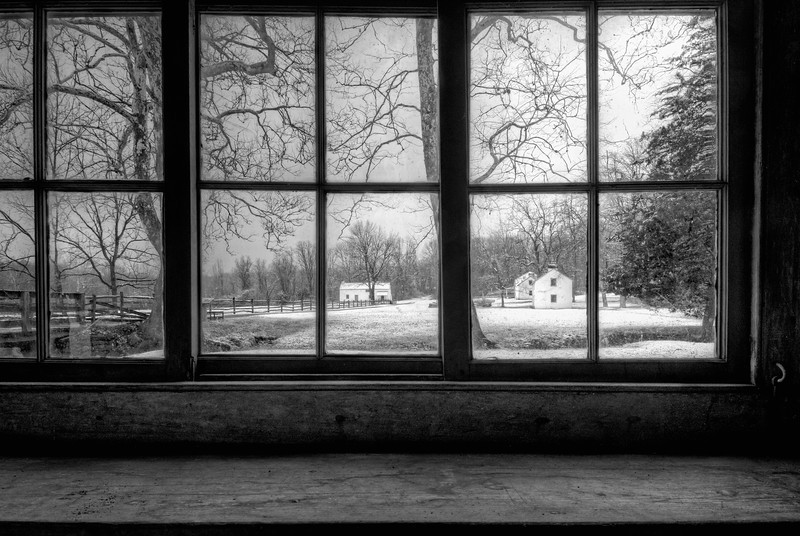 A February Morning at Hopewell (b&w)