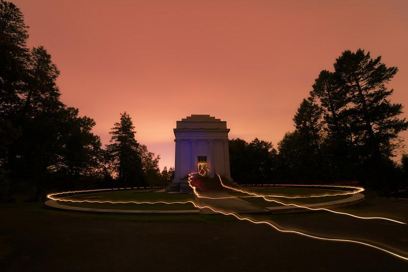 Mausoleum of William Rockefeller, brother of John D. Rockefeller, with lantern light trails