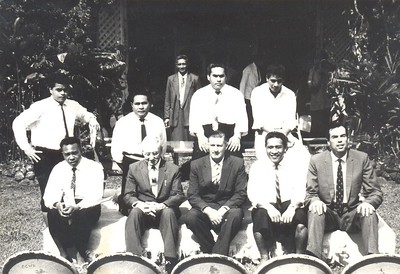 Prime Minister's Office, Western Samoa, on the occasion of the signing of the Treaty of Friendship with New Zealand, August 1962. Front row: Gulati, Private Secretary to PM Mata'afa Eddie Stehlin, Secretary to Government Ash Levestam, Administration Officer Maulolo, and Foreign Affairs Adviser to Prime Minister Mata'afa David McDowell.