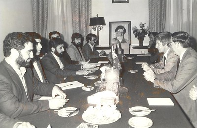 New Zealand Foreign Minister Warren Cooper, with his Iranian counterpart Dr Ali Akbar Velayati at the New Zealand Residence, Tehran, November 1982.