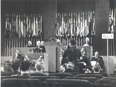 New Zealand Prime Minister Peter Fraser addressing the first United Nations General Assembly in 1945.