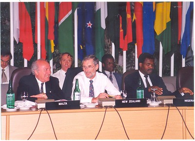 Graham Fortune (in front) and John Larkindale (at back) at a senior officials' meeting prior to the Commonwealth Heads of Government Meeting (CHOGM) in Limassol, Cyprus, October 1993.