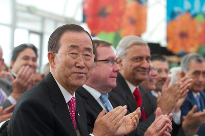 United Nations Secretary General Ban Ki-moon, New Zealand Minister of Foreign Affairs Murray McCully, and other leaders at the opening ceremony of the 42nd Pacific Island Forum in Auckland, 2011.