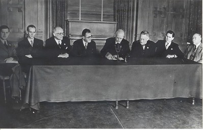 New Zealand Delegation San Francisco Conference, 1945. New Zealand Prime Minister Peter Fraser (second from left), Sir Carl Berendsen (third from left), Secretary of Foreign Affairs Alister McIntosh (first on right).