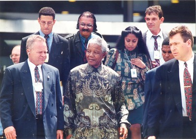 South African President Nelson Mandela at the Aotea Centre during the Commonwealth Heads of Government Meeting (CHOGM), Auckland, November 1995.