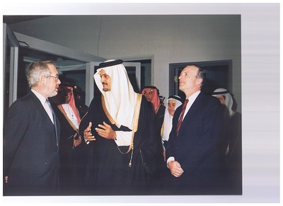 Foreign Minister Russell Marshall and New Zealand's Ambassador Wyn Cochrane at the official opening of the New Zealand Embassy in Riyadh, Saudi, 1988.