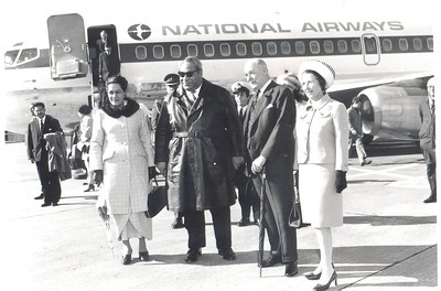 His Majesty the King of Tonga Taufa'ahau Tupou IV welcomed by His Excellency the Governor General of New Zealand Sir Arthur Porritt and his wife Lady Porritt on a visit to New Zealand, August 1970.