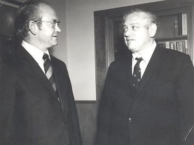NZ Prime Minister Norman Kirk with the Head of the United Nations Division at the Ministry of Foreign Affairs John McArthur (Senior), 1972.