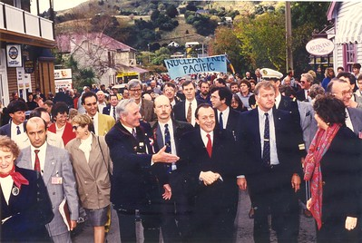 Visit of French MP Michel Rocard, Akaroa, 1991.