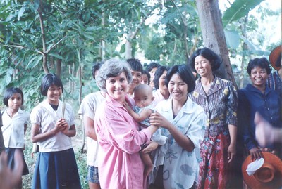 Barbara Marshall in Northern Thailand, site of New Zealand aid water project, 1989.