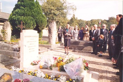 New Zealand Ambassador to France Judith Trotter at Katherine Mansfield's grave, Avon, France, October 1988.