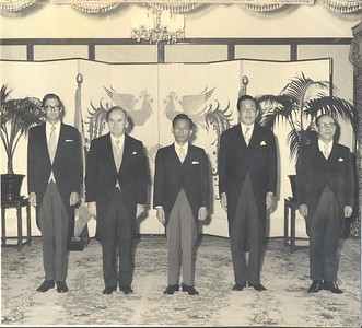 Presentation of Credentials as non-resident Ambassador to Republic of Korea, Seoul, Blue House, June 1972. Left to right: Chargé d'Affaires & Consul-General Richard F Nottage, Tom Larkin, South Korean President Park Chung Hee, South Korean Foreign Minister Kim Yong Shik