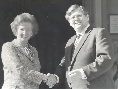 Prime Minister of New Zealand David Lange and Prime Minister of the UK Margaret Thatcher during a visit, 1984.