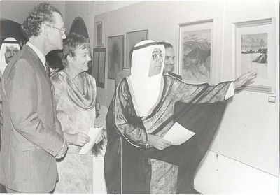 New Zealand Ambassador Daniel Richards and T. Almoayed at a New Zealand Exhibition in Bahrain, November 1987.