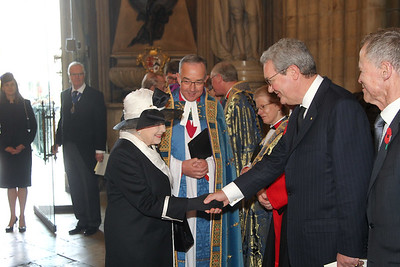 High Commissioner to London Sir Alexander Lockwood Smith waiting to greet Her Majesty The Queen at the Westminster Abbey Anzac Day service, 2015.