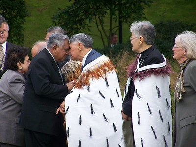 The President of Singapore S.R. Nathan being welcomed to New Zealand with a hongi from Maori Kaumatua Sam Jackson as part of a State welcome at Government House in Wellington, 28 April 2008.