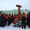 Ceremony to install a pou whenua at Scott Base during Prime Minister John Key's visit to Antarctica, January 2013.