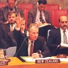 United Nations Security Council meeting, 1993.<br /> Left to right: Deputy Permanent Representative Gerard van Bohemen, John Wood (accompanying Minister) Permanent Representative Colin Keating, Minister of Foreign Affairs Don McKinnon.