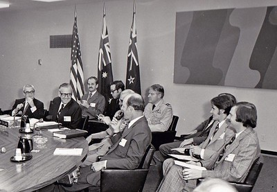 New Zealand Secretary of Foreign Affairs Frank Corner, Counsellor at the New Zealand Embassy in Washington, Gerald Hensley, and Dick Atkins, at an Australia, New Zealand, United States Security Treaty (ANZUS) meeting, Washington DC, May 1973.