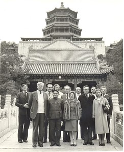 Minister of Foreign Affairs Brian Talboys visits China, October 1977. Left to right: Ted Woodfield, Merv Norrish, Chris Beeby, Bruce Middleton, Brian Bremner. Front: Brian Talboys, Dick Atkins (New Zealand Ambassador to China), Jill Atkins.